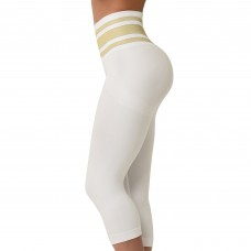 SANKOM PATENT YOGA CAPRI – POSTURE CORRECTION YOGA CAPRI, WHITE & GOLD COLOR
